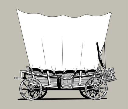 Linear black and white drawing of a Wild West covered wagon