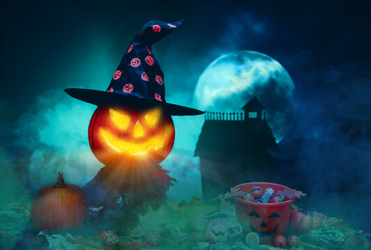 halloween witch flying over the moon