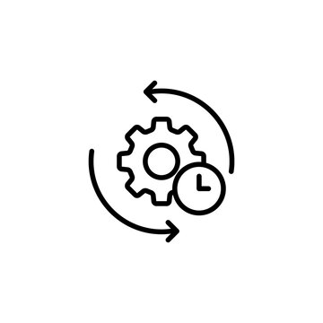 Gear and arrow. Agile process line icon. Process sign. Vector on isolated white background. EPS 10