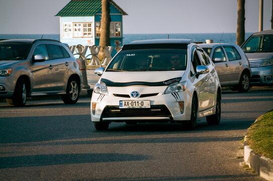 Batumi. Georgia - October 14, 2020: Toyota prius on the street of Batumi