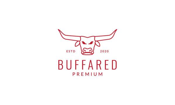 head buffalo long horn line outline  logo vector icon illustration