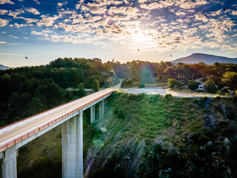 Sunset bridge from drone with clouds