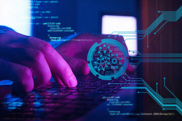 software developing, programming and coding technologies, programmer working in a software in dark...