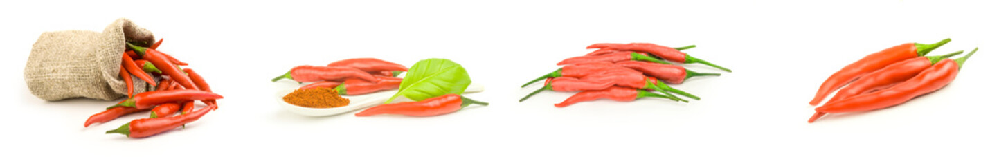 Collection of red hot chili pepper isolated on a white background cutout