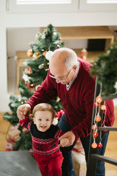 Grandpa And Little Boy , Christmas time
