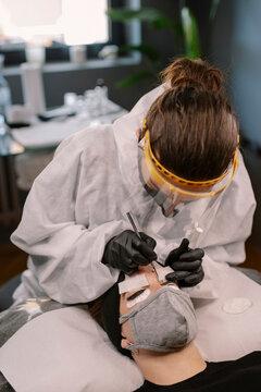Young Woman Getting Natural Lash Lifting