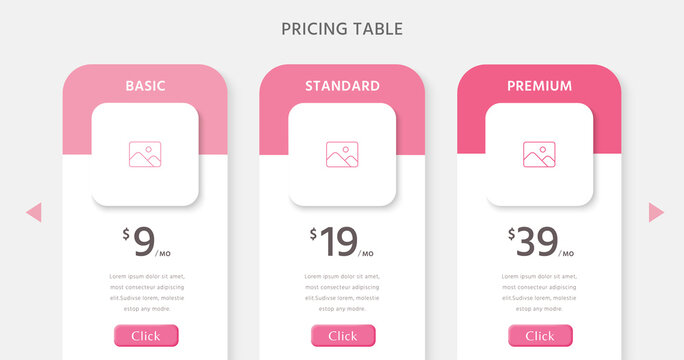 Pricing table design infographic