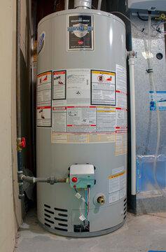Calgary, Alberta, Canada. Sep 21, 2020. Bradford White Residential gas water heater. Boiler Heating system.