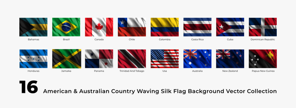 set of 16 american and australian country waving flag silk background vector template design easy to edit
