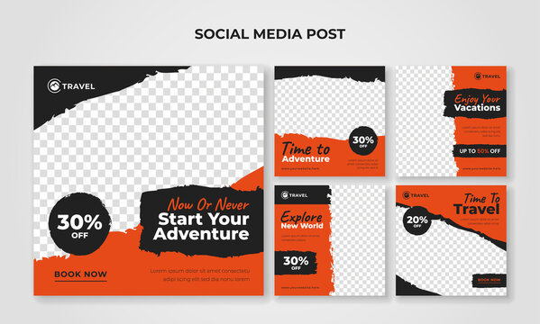 Adventure travel banner for social media post template