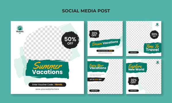 Summer vacation square banner for social media post template. Travel and tourism banner collection