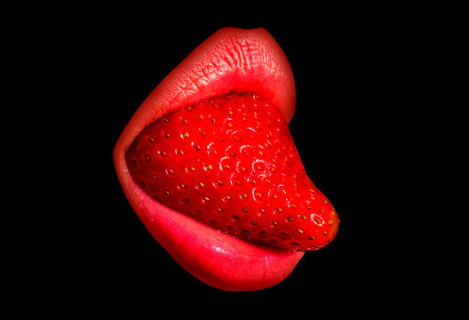 Sexy mouth lips with strawberry tongue, isolated on black.
