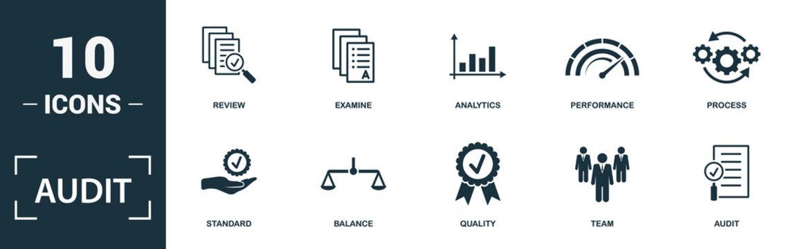 Audit icon set. Monochrome sign collection with review, examine, analytics, performance and over icons. Audit elements set.