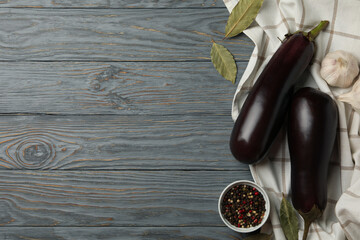 Fresh raw eggplants and spices on wooden background