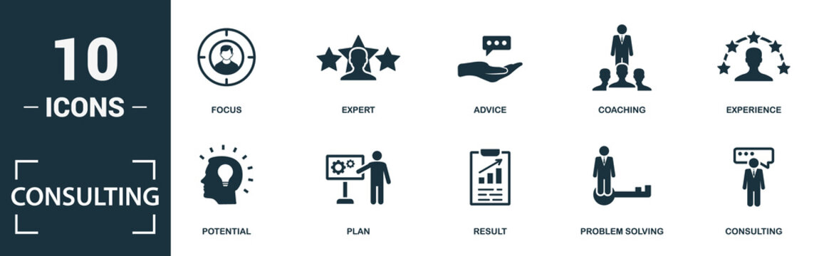 Consulting icon set. Monochrome sign collection with focus, expert, advice, coaching and over icons. Consulting elements set.