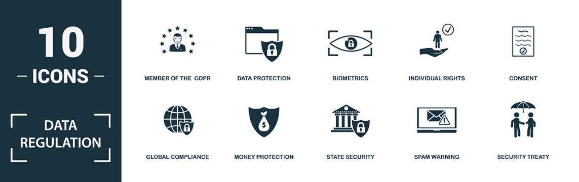 Data Regulation icon set. Monochrome sign collection with social network, message protection, privacy, server protection and over icons. Data Regulation elements set.