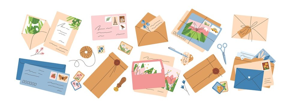 Collection of different envelopes with mail, postmarks and postcards vector flat illustration. Set of various craft paper letters, stationery, sealing wax and handmade cards isolated