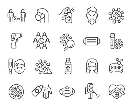 Coronavirus updated Icon Set. Collection of simple linear web icons such Virus, Pyrometer, Distance, Mask, Antiseptic, Symptoms, Disinfection, Test and others. Editable vector stroke.