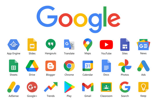 Google products and programs logo on a white background. Google icons collections