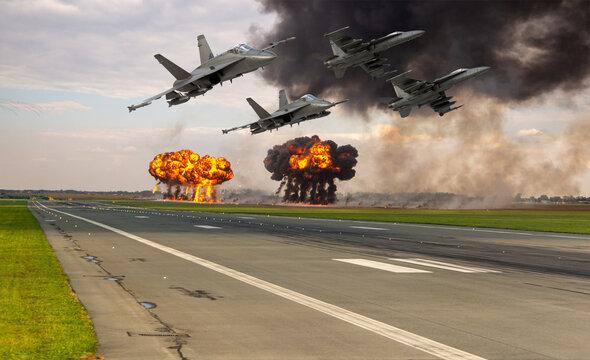 Boeing Super Hornet demonstrating an airport bomb attack