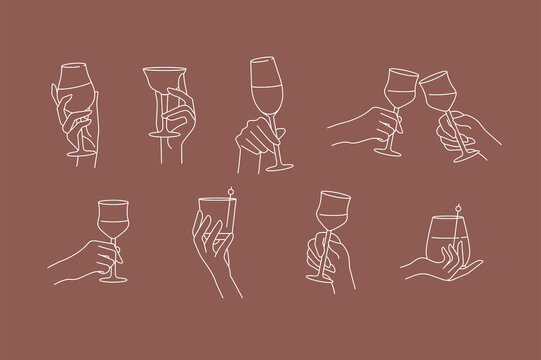 Vector design linear template signs or emblems - hands in different gestures glass of drink