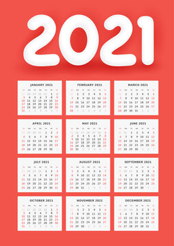 Wall Calendar Template for 2021. Classic style with white 3d number 2021 on red. Week starts on Sunday