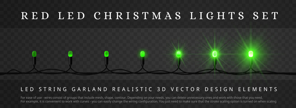 Green LED Christmas String Lights with different phase of Light. Decoration Elements for Holidays Design. Block structure, easy editing. Instruction at bottom of pic.