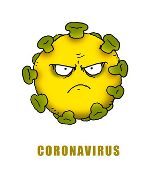 Cartoon illustration of the Covid 19 coronavirus virus