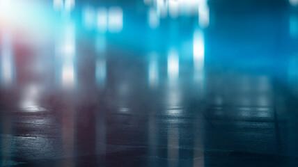 Dark cold wet street, asphalt, neon light. Reflection of neon in water. Empty night street scene, night city, smoke. abstract dark empty scene abstract night landscape neon blue light tree silhouettes Fotomurales