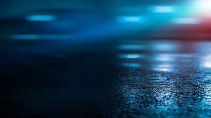 Dark cold wet street, asphalt, neon light. Reflection of neon in water. Empty night street scene, night city, smoke. abstract dark empty scene abstract night landscape neon blue light tree silhouettes Fotomurales