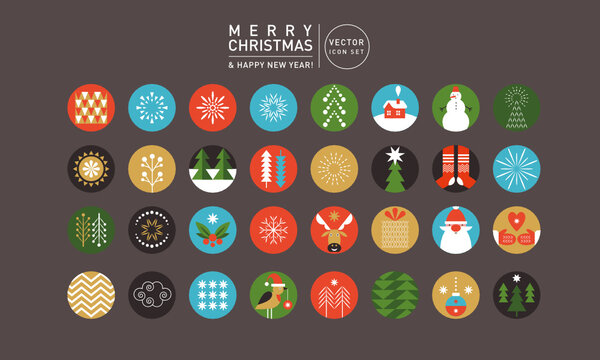Big Set of design elements on Christmas and New Year theme, stickers, labels, icon set, logos, symbols.