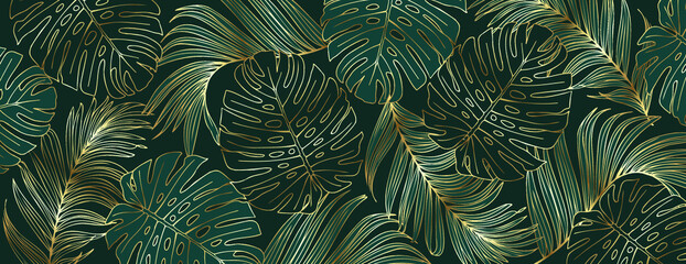 Luxury gold and nature green background vector. Floral pattern, Golden split-leaf Monstera plant with palm leaves, Vector illustration. Wall mural
