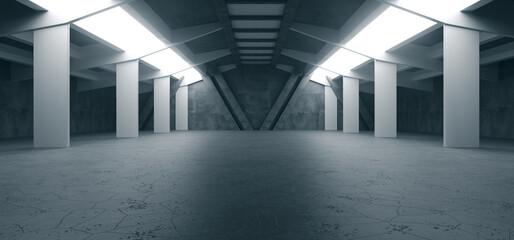 Alien Spaceship Sci Fi Concrete Rough Cement Garage Tunnel Corridor Warehouse Showroom Underground Futuristic Modern Background 3D Rendering