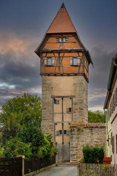 Alter Turm der Stadmauer von Dinkelsbühl.