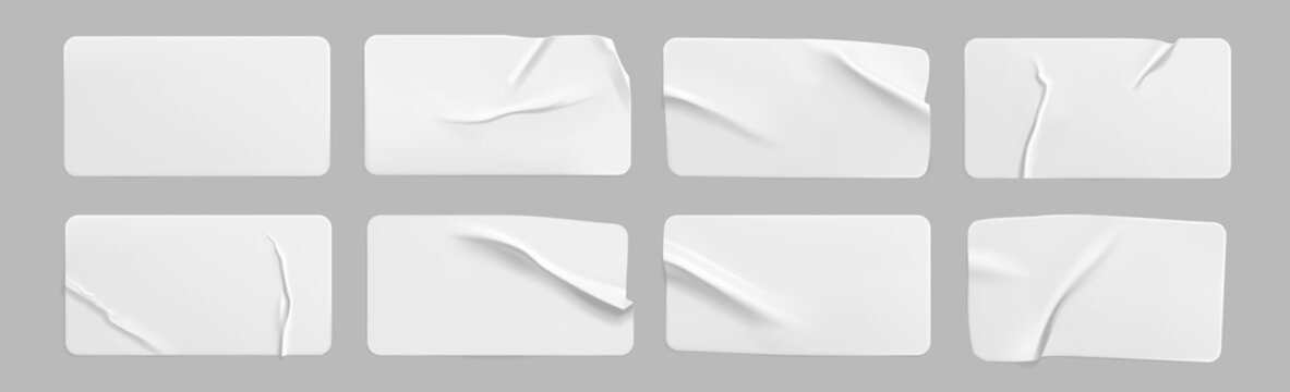 White glued crumpled rectangle stickers mock up set. Blank white adhesive paper or plastic sticker label with wrinkled and creased effect. Template label tags close up. 3d realistic vector