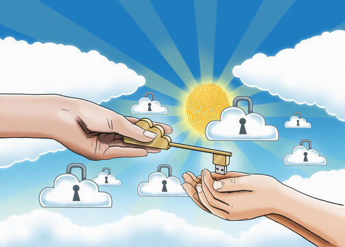 Hands receiving key to online personal data