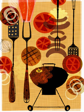 Montage of food and utensils for barbecue
