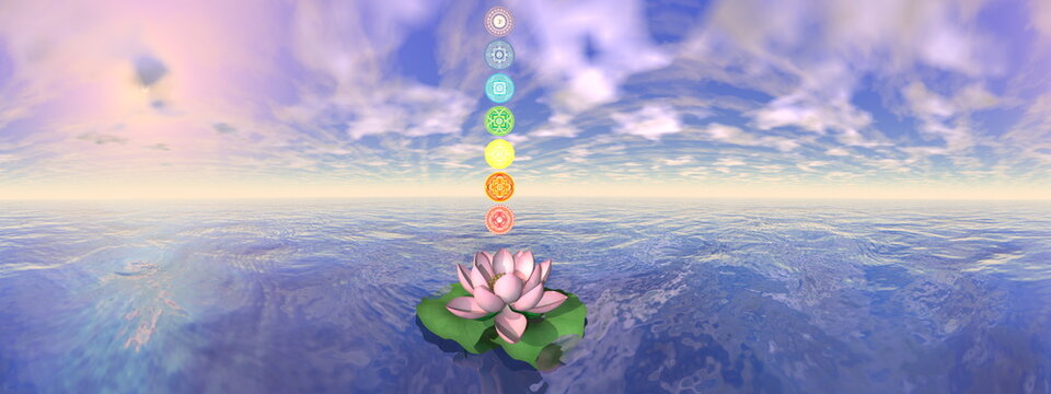 Seven chakra symbols column upon one lotus flower and water in sunset background - 3D render