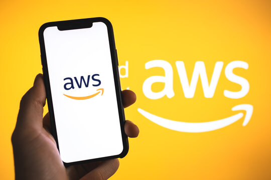 Amazon Web Services logo on the smartphone screen. Rostov-on-Don, Russia. 16 March 2020