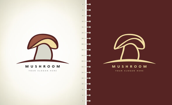 mushroom logo vegetable food design vector