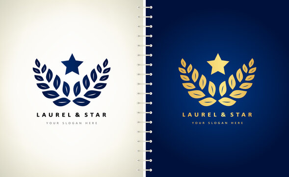 laurel branch and star logo vector