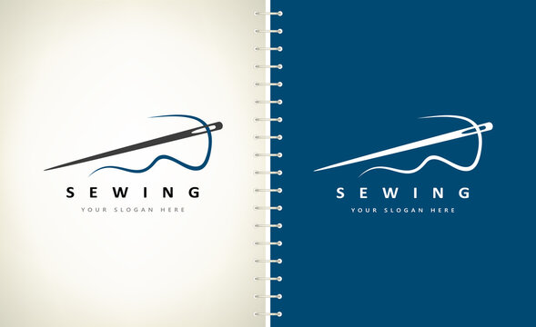sewing needle and thread logo vector design