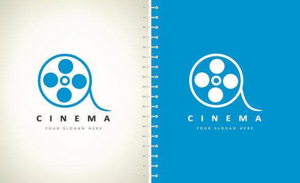 Film strip logo vector design cinema