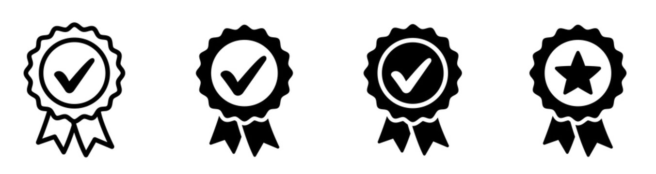 Approved or certified medal icon. Certified badge. Approval check symbol collection - stock vector.