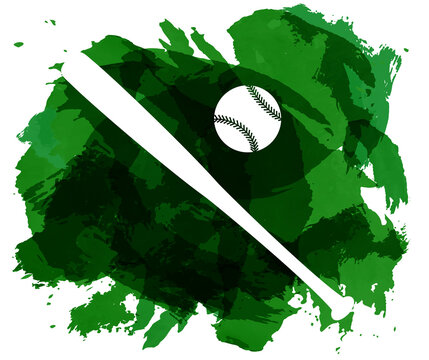 Abstract green watercolor splashes with baseball equipment silhouettes