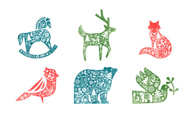 Christmas watercolor retro scandinavian animal set