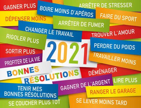 Carte de vœux 2021 présentant une liste de bonnes résolutions écrite sur des étiquettes de couleurs.