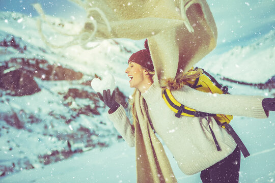person with scarf  in the snow