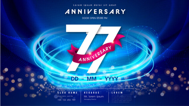 77 years anniversary logo template on dark blue Abstract futuristic space background. 77th modern technology design celebrating numbers with Hi-tech network digital technology concept design elements.
