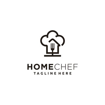 food house chef cook with fork kitchen restaurant cafe logo design icon vector template
